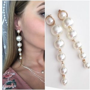 Trendy Elegant Pearl Long Earrings Pearls